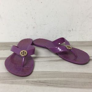 Tory Burch Purple Thong Logo Flat Sandal